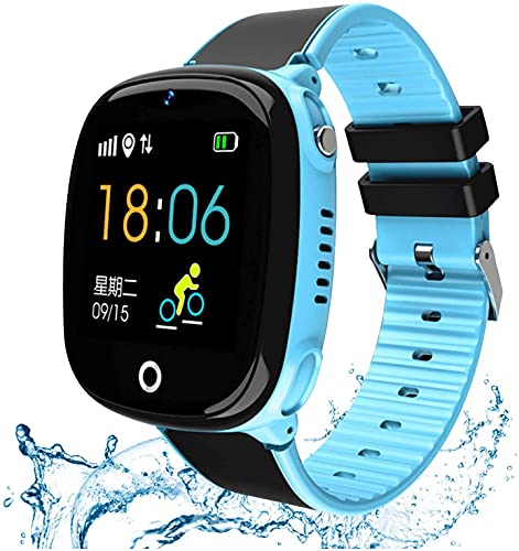 Reloj inteligente para niños, GPS/LBS Tracker reloj teléfono IP67 impermeable con llamadas SOS, chat de voz, cámara, regalo de alarma para niños y niñas