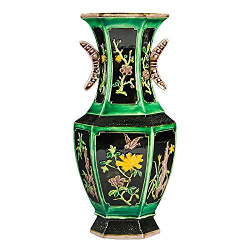 ZYG222 Antiek porselein vaas geel groene bloem oren vaas Jingdezhen porselein ornamenten bloemen en vogels zeshoekige vaas
