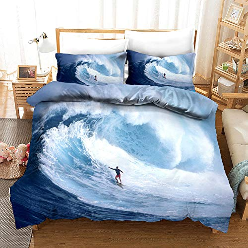aakkjjzz Duvet Cover King Size Ultra Soft Bed Set with Zipper Closure 100% Polyester Quilt Cover and 2 Pieces Pillowcases Machine Washable Surf for Bedroom Daybed 230X220cm