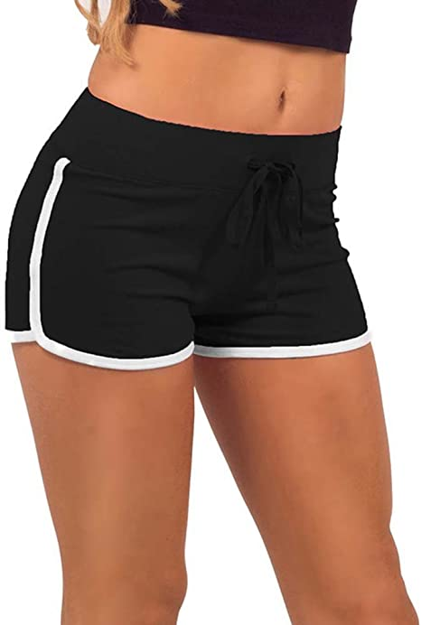 Damen Geblümt Hohe Taille Yoga Shorts Sports Hotpants Sommer Fitness Jogginghose