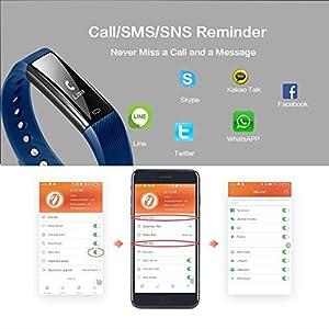 Fitness Tracker Pulsera Inteligente, RobotsDeal id115 Recordar de llamada con Bluetooth Remoto Disparador Automático Inteligente Reloj Podómetro Inalámbrico Actividad Tracker ( Púrpura)