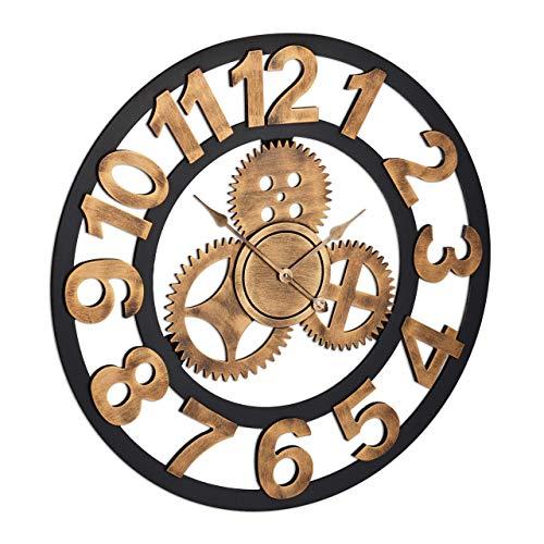 Relaxdays Reloj de Pared «Engranajes», XL, 3D, Industrial, A Pilas, Silencioso, Ø 80cm, Negro