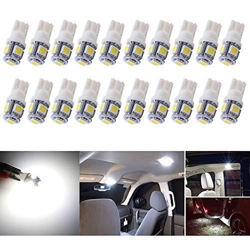 Alopee - 20-Pack 24V Blanco 194 T10 168 2825 W5W Bombilla 5050 5 SMD LED, iluminación Interior del automóvil para Map Dome Lamp Lámpara de cortesía Luces de la Placa