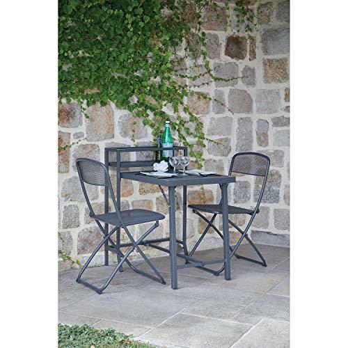 Ozalide - Mesa de balcón con sillas de escal, 2 personas, color gris antracita