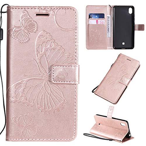 ViViKaya Handyhülle für LG K20 2019,Schlanke Leder Schmetterling Brieftasche hülle Flip Folio Handytasche für LG K20 2019 [Rose Gold]