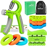 Hand Grip Strengthener Kit with Finger Exerciser, Finger Stretchers, Adjustable Hand Gripper and Exercise Rings, Strength Trainer for Athletes, Pianists, Guitar and Therapy