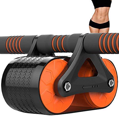 RUIMA AB Roller Wheel für Bauchmuskeltraining, Core Workout Equipment mit automatischer Rebound-Unterstützung und Resistance Springs mit ergonomischem Griff. Mit Knieschoner (Color : Orange)