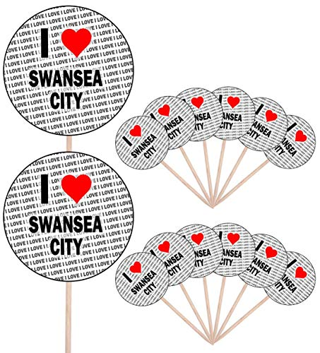 I Love Swansea City - Party Food - Cake Cupcakes - Picks Sticks - Food Flags - Stand Up Decorations Toppers (14 Pack)