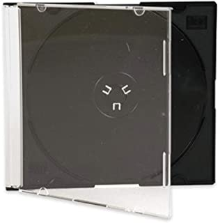 Maxtek Ultra Thin 5.2mm Slim Clear CD Jewel Case with Built in Black Tray, 100 Pack.