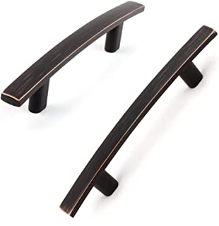 Koofizo Flat Bar Cabinet Pull - Oil Rubbed Bronze Furniture Arch Handle, 3 Inch/76mm Screw Spacing, 10-Pack for Kitchen Cu...