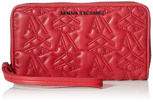 Armani Exchange - Zip-around Wristlet Wallet, Carteras Mujer, Rojo (Red), 10x10x10 cm (W x H L)