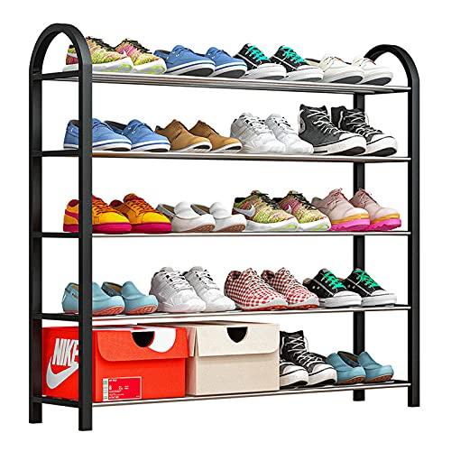 LGWZ Zapatero De Plástico De 5 Capas, Fácil De Montar, Estilo Simple, Diseño Ampliado 20 Pares De Zapatos, Adecuado para Entradas, Pasillos Y Armarios, 76 * 19 * 71 Cm (Negro/Azul),Negro