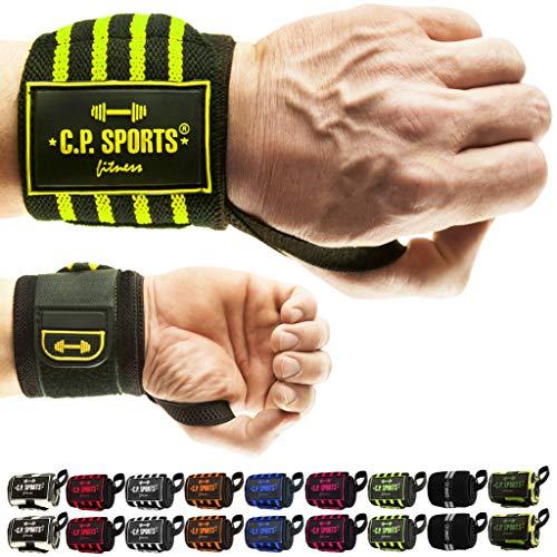 C.P. Sports - Polsini di protezione per fitness, per bodybuidling, crossfit, allenamento con i pesi, per uomini e donne, T20-1-sw-pi, Nero/Rosa/50 cm