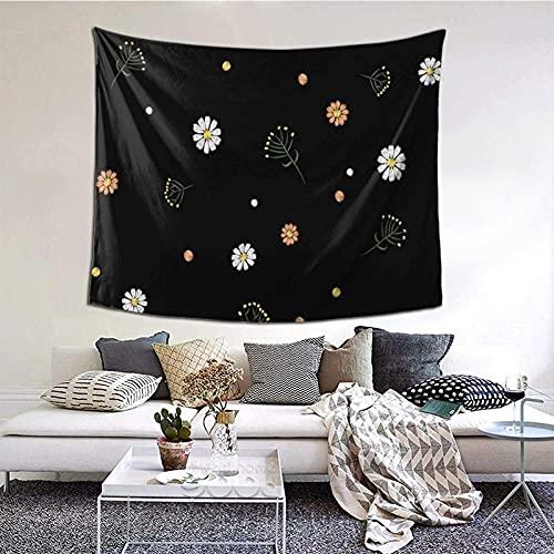 Tapiz para colgar en la pared, diseño de flores y hierbas, margarita, estilo vintage, para sala de estar, dormitorio, decoración del hogar, 152 x 130 cm