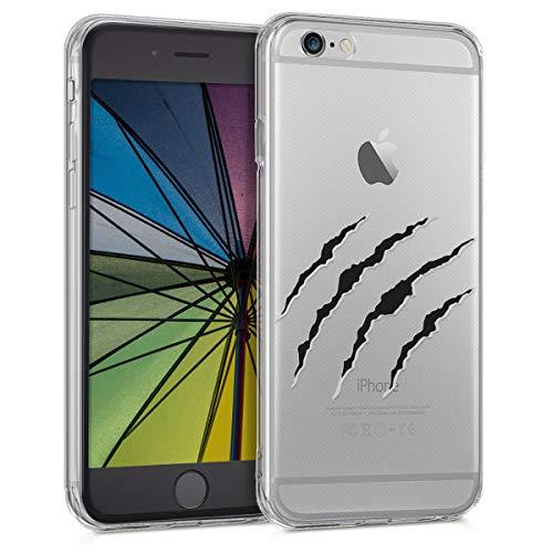 kwmobile Cover Compatibile con Apple iPhone 6 / 6S - Custodia in Silicone TPU - Back Case Cover Protettiva Cellulare Graffi Nero/Grigio Chiaro/Trasparente