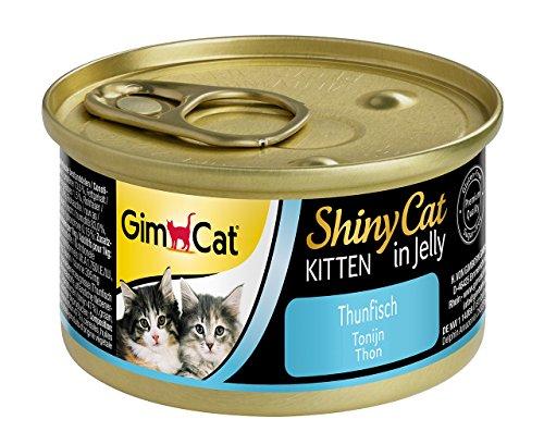 GimCat ShinyCat in Jelly Kitten – Comida para gatos: con trocitos extrapequeños en gelatina, indicada para gatitos jóvenes a partir de las 8 semanas – Sin azúcar añadido – Atún – 48 latas (48 x 70 g)