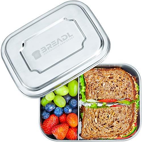 *BREADL Edelstahl Brotdose, Spülmaschinenfest, Plastikfrei, 17x13x6cm, 1000ml, BPA-frei, Trennwand und 2 Fächer, Lunchbox & Bento-Box für Kinder & Erwachsene*