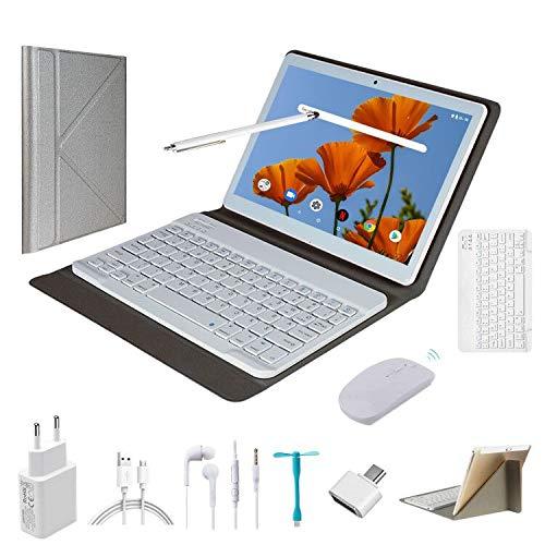 Tablet 10 Pulgadas Android9.0 - Ultrar-Rápido Tableta 4GB RAM+64GB ROM/128GB Expandido -Dual SIM Quad Core Tablets 8000mAh/WI-FI/Bluetooth/GPS,8.0 MP Tablet Android con Teclado (Azul)