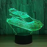 3D Lámpara Óptico Illusions Luz Nocturna,Yate De Lujo Led Lámpara De Mesa Del Dormitorio Del Hogar Decoración De La Oficina Para Los Niños Y Regalo De Navidad De Cumpleaños