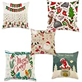 Meet National Set of 5 Decorative Christmas Printed Hand Made Jute Throw/Pillow Cushion Covers -Cream (16 X 16 INCHES)