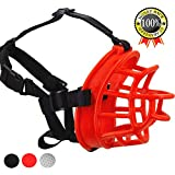Supet Dog Muzzle, Upgraded Soft Rubber Basket Muzzles Cage Muzzle for Small Medium Large Dogs, Allows Panting and Drinking, Prevents Unwanted Barking Biting and Chewing