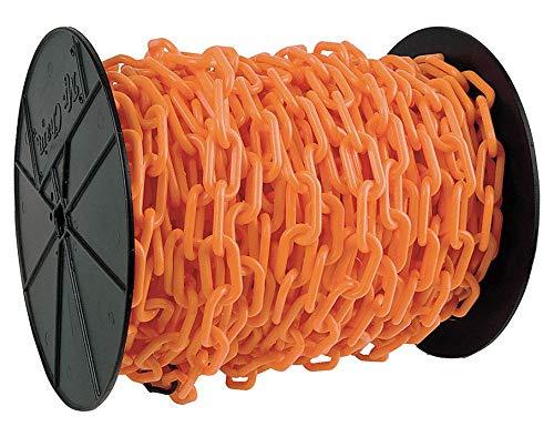 Mr. Chain Plastic Barrier Chain Reel, Safety Orange, 1.5-Inch Link Diameter, 200-Foot Length (30112)
