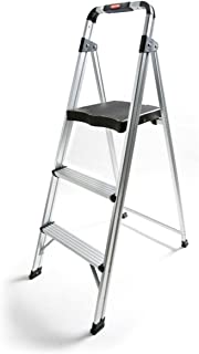 Rubbermaid RM-AUL3G 3-Step Ultra-Light Aluminum Stool with Plastic Top Step, 225 lb Capacity, Silver Finish (Renewed)