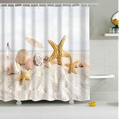 Jibin Bong 72 X 72 Inch Starfish Conch Shell Beach Shower Curtain - Waterproof fabric Polyester Bath Curtain - Bathroom Decor Shower Curtains