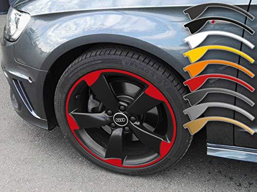 SB CarDesign 7,5-8x18 Pulgadas Pegatinas de Llanta para A1 A3 A4 Audi 5-Arm Rotor Llantas Llanta Adhesivo - Rojo