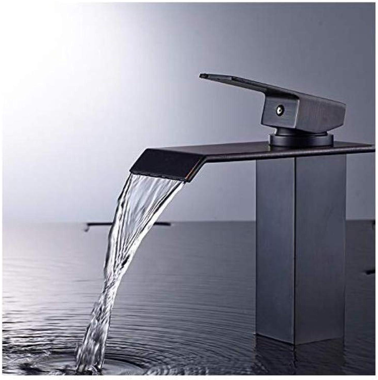 Moderner Wasserfall Heies Und Kaltes Wasserhahnschwarzes Einzelnes Lochbassinhahn Heies Und Kaltes Hahnbadkupfer
