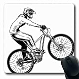 Alfombrilla de ratón para deportes extremos Oblongo Deportes extremos Ilustración de truco de bicicleta extremo Rider Diseño de estilo monocromático Alfombrilla de goma antideslizante blanca negra par