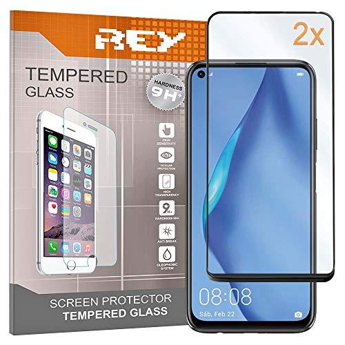 REY Pack 2X Panzerglas Schutzfolie 3D für Huawei P40 LITE - P40 LITE E, Schwarz, Bildschirmschutzfolie 9H+ Festigkeit, Anti-Kratzen, Anti-Öl, Anti-Bläschen, Voller Schutz, 3D, 4D, 5D