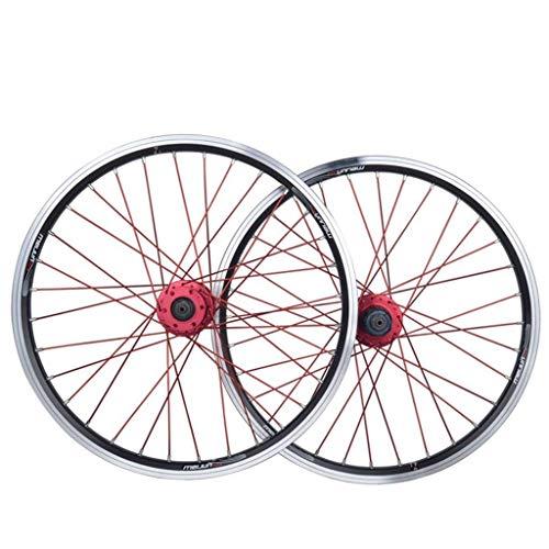 VTDOUQ Juego de Ruedas de Bicicleta BMX de 20 Pulgadas, Rueda de Bicicleta de Doble Capa, Disco de llanta de Aluminio, Freno en V, liberación rápida 7 8 9 10 velocidades 32H