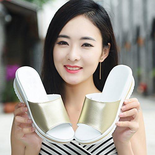 AWXJX Tongs Femme Chaussures été en Plein air Pente Bord de mer Fond épais Vert 6cm 7 US 37.5 EU 4.5 UK