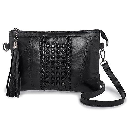 LaRechor Kleine Mini Umhängetasche Handtasche Weich Leder Clutch Abendtasche Handgelenkstasche mit Quaste Nieten Frauen Crossbody Tasche Retro - Schwarz