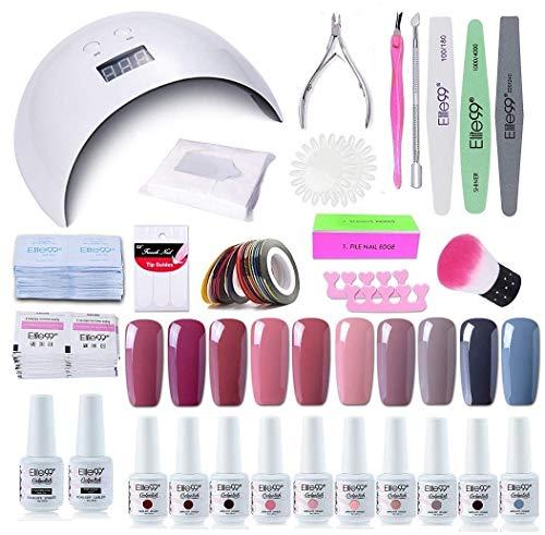 Elite99 Smalto Semipermanente per unghie Kit di Partenza in 10 coloris Gel 24 W LED Lampada UV Nail Dryer Soak Off Topcoat Basecoat Nail Art Tool Set di Adesivi per Manicure Set per Manicure 8ML C014