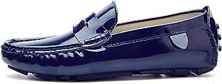 [OceanMap] OM 大きいサイズ ドライビングシューズ ビジネスシューズ メンズ 手作り モカシンシューズ スリッポン 軽量 エナメル レザー 柔らかい カジュアルシューズ 職場用 靴 防滑 軽量 運転 通勤 通学 4色 白 黒 赤 紺