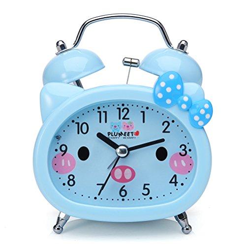 Plumeet Reloj Despertador con Campanas gemelas para Niños Marca Silencioso (sin Tic-TAC) con Tema de Caricatura, operado con baterías (Azul)