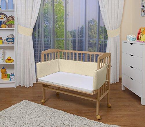 WALDIN Baby,Lettino culla,altezza regolabile,paracolpi e materasso,in 16 varianti, naturale,Superficie d'appoggio EXTRA lung. 90 x larg. 55 cm,beige/gialle
