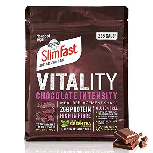SlimFast Advanced Vitality Chocolate Intensity Meal Replacement Shake I Kalorienarmer Diät-Shake mit Grüntee-Extrakt, Biotin, Eisen & Chrom I Diät-Pulver für positive Energie beim Abnehmen I 400 g
