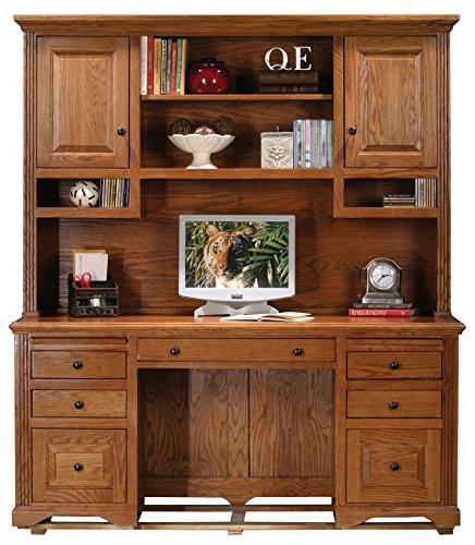 Eagle Oak Ridge Tall Double Pedestal Desk Hutch with Doors, Dark Oak Finish