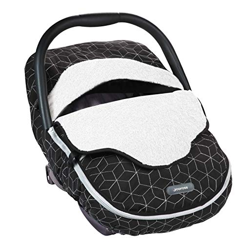 Yoofoss Baby Car Seat Cover Winter Carseat Canopies Cover to Protect Baby from Cold Wind, Super Warm Plush Fleece Baby Carrier Cover for Infant Boys Girls (Black) Indiana