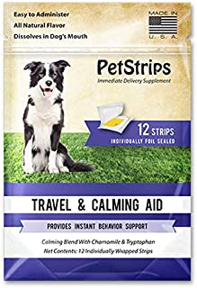 PetStrips Travel & Calming Aid for Dogs, 12 Individually Foil Sealed Strips