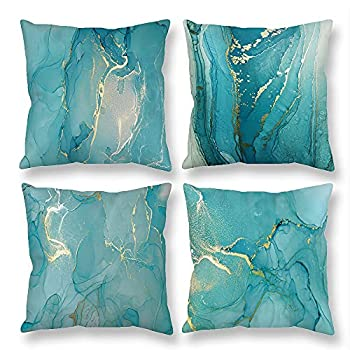Teal Throw Pillow Covers Marble Teal Gold Abstract Watercolor Splash Flush 18 x 18 Velvet Decorative Pillow Case Living Room Bedroom Patio Sofa Couch Home Decor Outdoor Indoor Spring Fall Set of 4