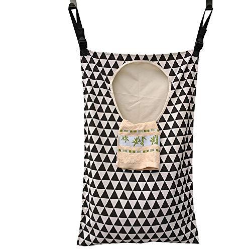 Amlrt Adjustable Space Saving Door Hanging Laundry Hamper Bag with Stainless Steel Hooks