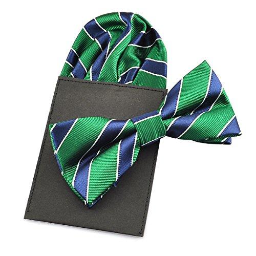 PenSee - Juego de pajarita y pañuelo de seda para hombre, diseño de rayas lisas, varios colores