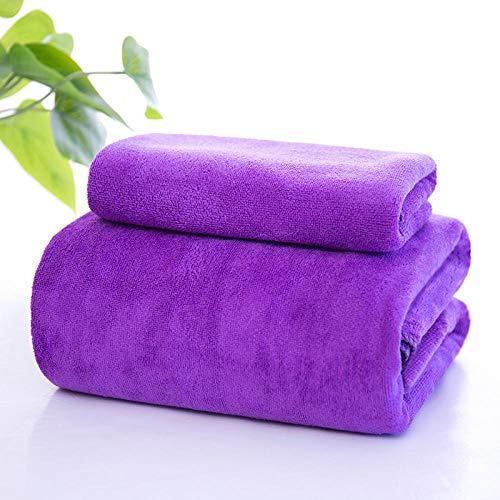 N/W Toallas de Lujo, Dos Juegos de Toallas de baño Suaves, Toallas absorbentes Grandes para Adultos-Toalla de baño de Grosor Medio Morado + Towel_200x100cm