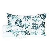 R.P. Completo Lenzuola 100% Cotone Fantasia Marina Coralli Blu Tiffany Verde Acqua 3 Misure 1 Piazza Letto Singolo