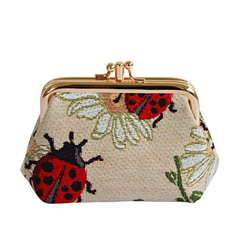 Signare Tapestry Cute exquisite Double Pocket Kiss lock Coin Purse for Women with Red Ladybug and Daisy Design (FRMP-LDBD)