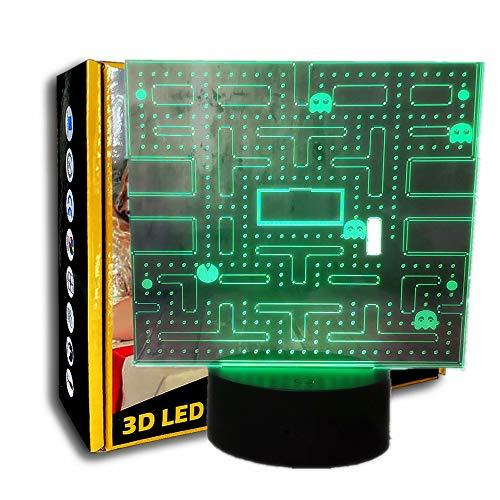 KangYD Spiel Pacman 3D Nachtlicht, Mehrfarbige LED-Lampe, Schlafzimmer Dekor, Mädchen Geschenk, Büro Dekor Lampe, Illusionslampe, Illusionslampe, C - Berühren Sie Crack White (7 Farben)